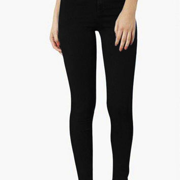 Black High Waist Jeans with One Button