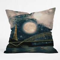 Belle13 Paris Romance Throw Pillow