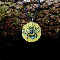 Happy Honey Bee Hand Painted Wooden Necklace