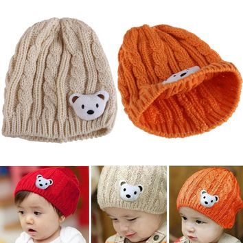 New Soft Winter  Knitting Wool Crochet Baby Newborn Toddler Boy Girl Beanie Hat Cute Bear Cap Children Warm Gift  2017