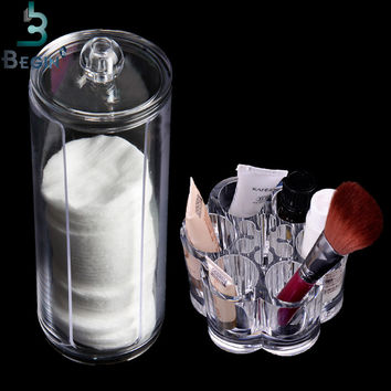 Acrylic Makeup Organizer Box Portable Round Container Storage Case Make up Cotton & Makeup Pen Box For Home Hotel Office