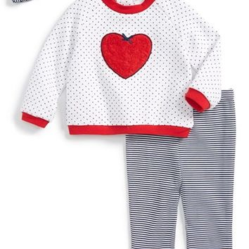 Infant Girl's Little Me 'Heart' Quilted Top, Leggings & Headband