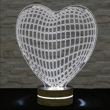 Heart Shape, 3D LED Lamp, Home Decor, Table Lamp, Office Decor, Plexiglass Art, Decorative Lamp, Art Deco Lamp, Acrylic Night Light