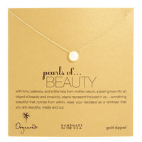 Dogeared Large Pearls of Beauty White Pearl Necklace, Gold Dipped 18 inch
