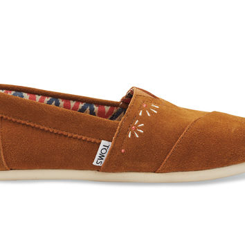 TOMS Brown Suede Embroidery Festival Women's Classics Brown