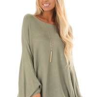 Olive Lightweight Sweater with Dolman Sleeves