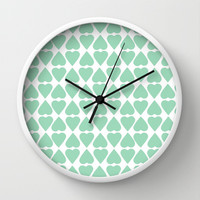 Diamond Hearts Repeat Mint Wall Clock by Project M