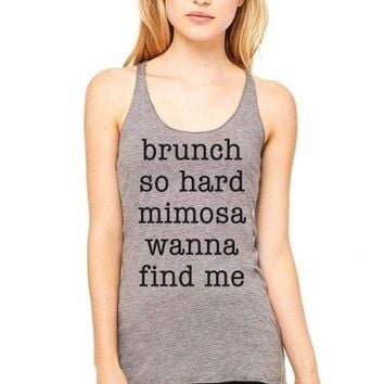 Brunch So Hard Graphic Tank - Grey