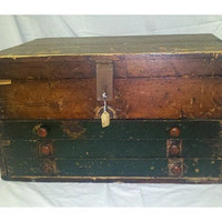 Vintage 3 Drawer Green Wooden Machinest Tool Box Cabinet for  Office, Jewelry, Kitchen