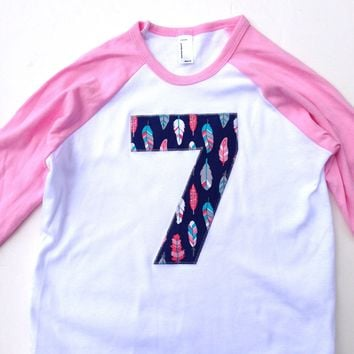 Feathers arrows Birthday shirt  for 6 7 8 9 year old pink aqua navy camp arrow feather on Girls Pink and White Raglan Number Birthday outfit