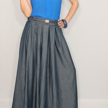 Denim Blue Palazzo pants Wide leg pant skirt for women Melange pants