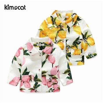 Trendy Kimocat Baby Boy Girl Clothes Kids Girl's Lemon Jacquard Suit Jacket Coat Winter Jackets Girls Lovely Pink&Yellow Baby Clothing AT_94_13