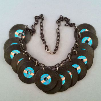 1970s Plastic 'Disco' Plastic Record Novelty Necklace