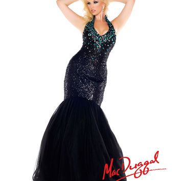 (PRE-ORDER) Mac Duggal 2014 Plus Size Prom Dresses - Black & Peacock Crystal Halter Mermaid Gown