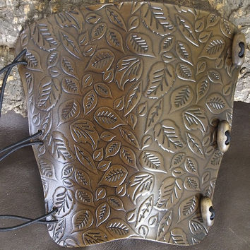 Autumn leaves,leaf Embossed Antique Dark Brown leather archery arm guard,bow bracer,LARP