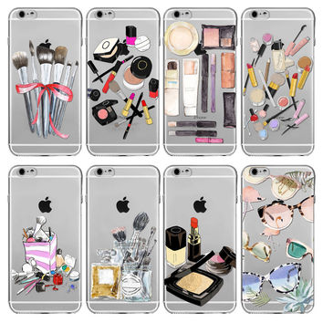 Phone Case For Apple iPhone 6 6s 4.7inch Fashion Makeups Cosmetic  Lipstick Pattern Transparent Soft Silicone Fundas Coque Cover