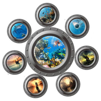 creative vivid 3D ocean view window submarine home decor wall sticker sea portal animals world washing machine kids room decals