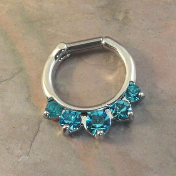 14 or 16 Gauge Aqua Blue Crystal Septum Ring Clicker Bull Ring Nose Piercing