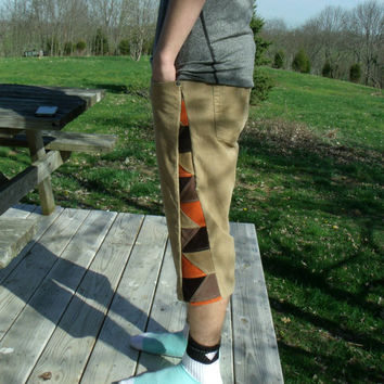 Patchwork Corduroy Shorts Brown Orange Pants Hippie Handmade Festival Heady Upcycle Original Kynd Valley Mens 32