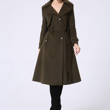 Army Green Military Coat - Womens Wool Fully Lined Tailored Coat - Autumn Winter Fashion (1053)