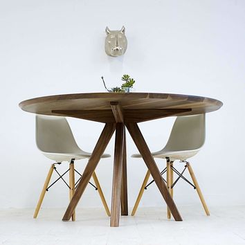 Mila Round Walnut Dining Table