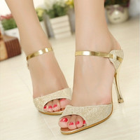 Vogue Sexy Women Peep Toe Pumps Stiletto Sandals High Heel Slipper Shoes Golden CFC [8322975809]
