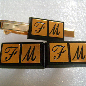 "Hickok USA Engraved Monogram Personalized Initial ""F M"" Black& Goldtone Color Cufflinks Tie Clip Bar Set Gentlemen Men's Jewelry Accessories"