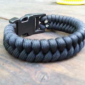 Black Fishtail Weave Paracord Survival Bracelet in listed sizes or custom fitted just for you