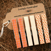Clothespin Set Pink Brown - Wood Clothes Pin set of 6