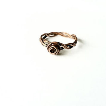 Antiqued Copper Ring, Copper Wire Ring, Braided Copper Ring, Unique Birthday Gift, Copper Jewelry, Dainty Copper Ring, Gifts for Her