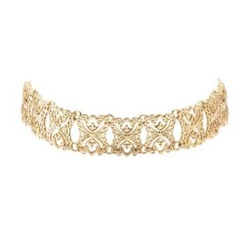 Gold Metal Filigree Choker Necklace by Charlotte Russe