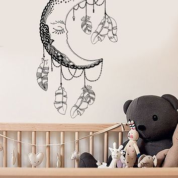 Vinyl Wall Decal Moon Feathers Bedroom Decor Dream Nursery Stickers Unique Gift (ig3602)