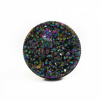 Titanium Rainbow Druzy Ring v19 by AstralEYE on Etsy