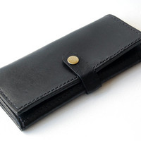 Black Long Wallet - Handmade Leather Wallet
