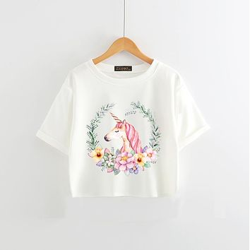 Chic Unicorn T Shirt Summer Cute Cartoon Print Women's Tops Casual Short Sleeve Soft T Shirts Women Unicorns Female Tees Hwd021