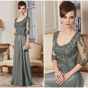 New Custom Made A Line 3/4 Sleeve Beaded Lace Floor Length Evening Gown Mother Of The Bride Dresses vestido mae da ZY4609