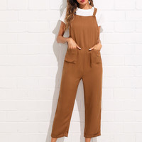 Pocket Front Rolled Up Hem Pinafore Jumpsuit