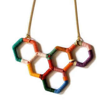 Statement Piece Upcycled Geometric Necklace in Random Colors