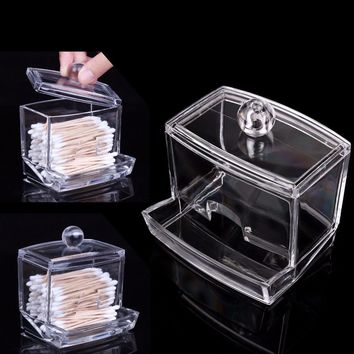 ABEDOE Fashion Clear Acrylic Cotton Swabs Organizer Box Q-tip Storage Holder Makeup Storage Box Portable Cotton Pads Container