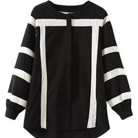 Black and White Color Block Long Sleeve Shirt