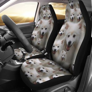 American Eskimo Dog In Lots Print Car Seat Covers-Free Shipping