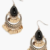 Katie Stone And Coin Detail Statement Earrings | Boohoo