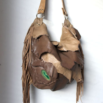 Milky brown raw leather distressed fringed bag fringe raw tote hobo tribal large elvish asymmetrical  leather bag artisan hobo handmade