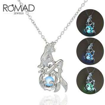 Luminous Glow In The Dark Fluorescent Mermaid Pendant Necklace For Women Jewelry Silver Chain Bohemia Fairy Necklace ketting Z45