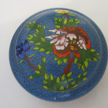 Asian Blue Cloisonne Round Covered Box Floral Enameling
