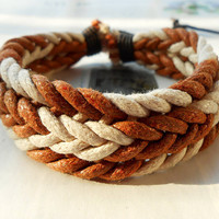 Spring Gift Stylish Braid Light Brown and White Puce Soft hemp Rope Lucky Handmade Adjustable Wrap Bracelet W-32