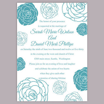 DIY Wedding Invitation Template Editable Word File Instant Download Printable Floral Invitation Rose Wedding Invitation Blue Invitations