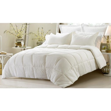 3PC Reversible Solid/ Emboss Striped Comforter Set- Oversized & Overfilled ( 2 Bedding Looks in 1) - Ivory in Full Size