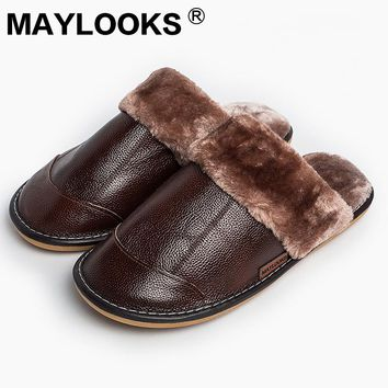 2017 Leather warm cotton slippers winter men and women men leather slippers couple home floor non - slip thick slippers M-8837