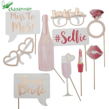 10 Pcs/set Hen Party Photo Booth Prop Team Bride To Be Photobooth Wedding Decoration Bridal Shower Bachelorette Party Supplie,Q